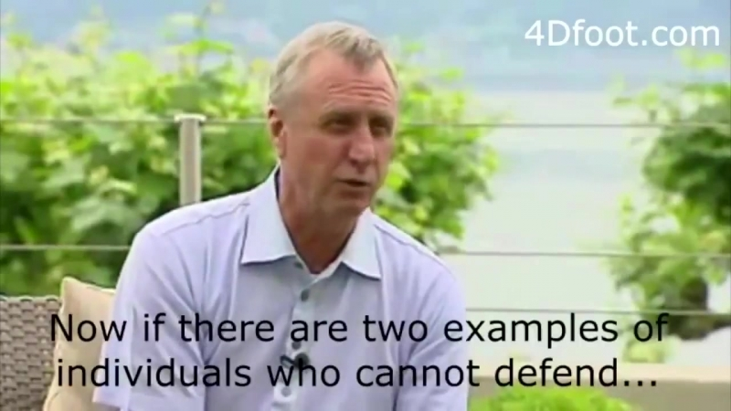 Simplicity is the trademark of genius. Johan Cruyff on defending....