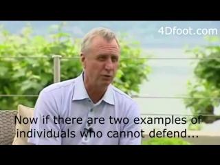 Simplicity is the trademark of genius. Johan Cruyff on defending....