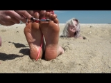 Beach buried feet tickling 12 [HD]