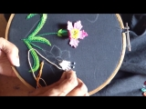 Hand embroidery designs. Hand embroidery stitches tutorial. woven picot variatio