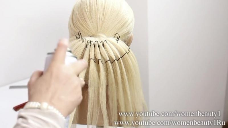 Свадебная прическа на длинные волосы.
