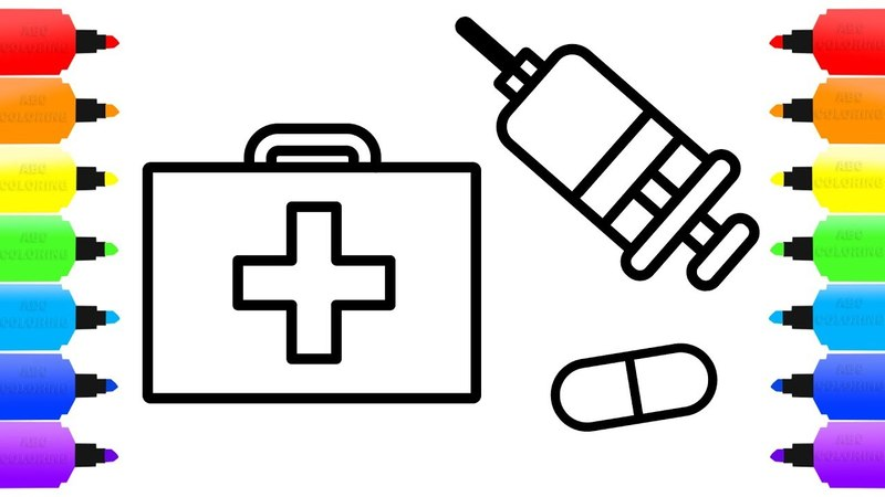 How to Draw Doctor Kit for Children - Medicine Coloring Book for Kids - Learn Colors