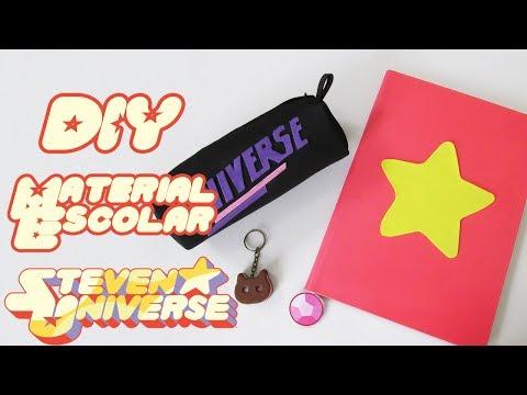 DIY: MATERIAL ESCOLAR STEVEN UNIVERSE - Caderno, Estojo de EVA e Pingente Biscoito Gatinho