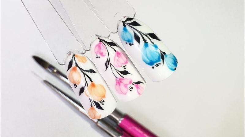 Дизайн ногтей: Цветы на веточке гель-лаками Justnail Glaze Gel