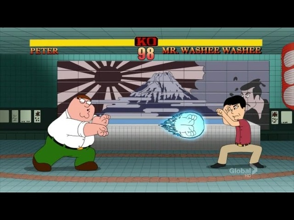 Family Guy - Peter Griffin VS Mr Washee Washee (Street Fighter) Fight HD