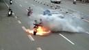 Electric car catches fire, burns passenger