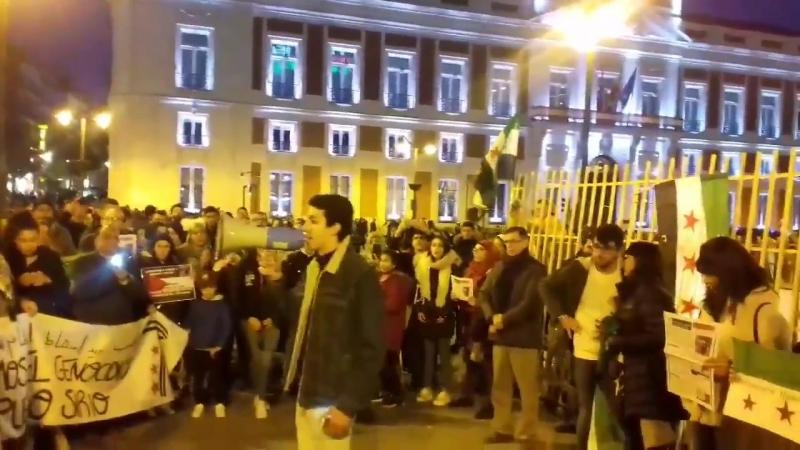 Concentración en Madrid por el 7 aniversario de la revolución Siria y en denuncia masacres de Al Assad y Putin GhoutaOrientale