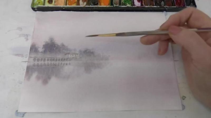 1 Рисуем Туман акварелью. The fog in watercolour Татьяна Бекер