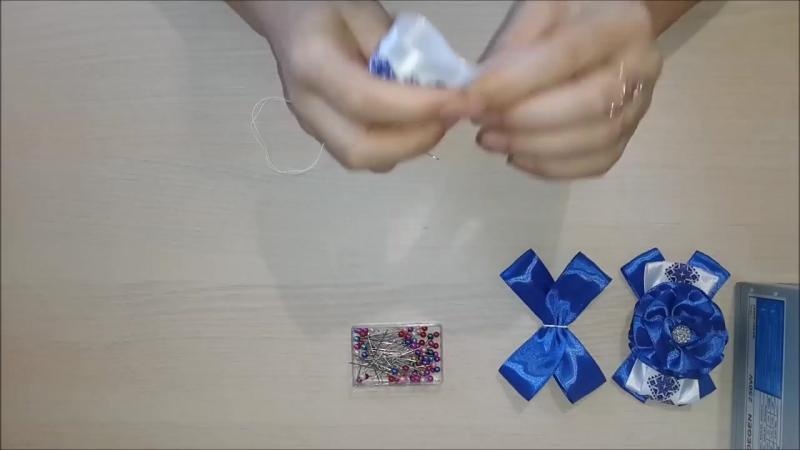 Банты в Школу в синем цвете. Канзаши._ School bows in blue. Kanzashi