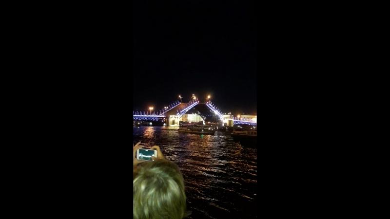 Санкт-Петербург… Ночные огни города Дворцовый мост