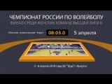 Чемпионат России по Волейболу Финал среди женских команд высшей лиги Б ДС