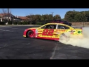 Joey Logano make burnout for his little fan