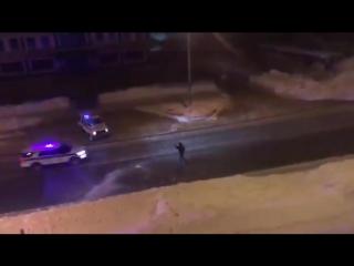 Полиция пытается остановить угонщика снежками, Южно-Сахалинск