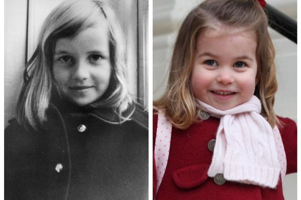 Под копирку: принцессу Шарлотту не отличить от принцессы Дианы на детских фото