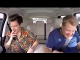 Harry Styles kissing James Corden at Carpool Karaoke
