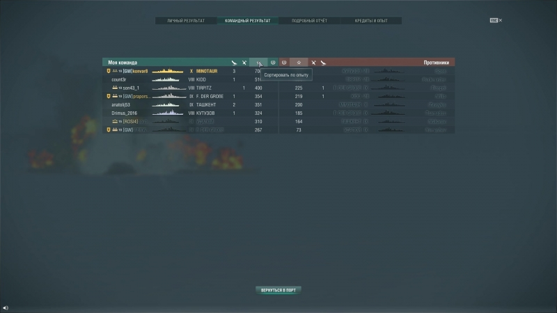 World of Warships минатавр оконцовка 159 к дамага