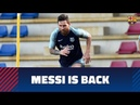 Messi Piqué Jordi Alba and Busquets back to work