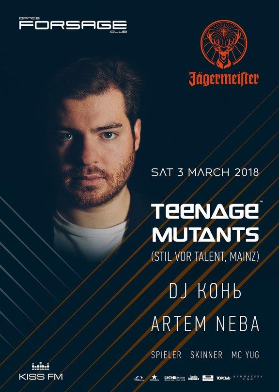 В субботу 3-го марта в клубе Форсаж выступит один из наиболее актуальных deep-house артистов мира, Teenage Mutants (Stil vor Talent, Mainz).