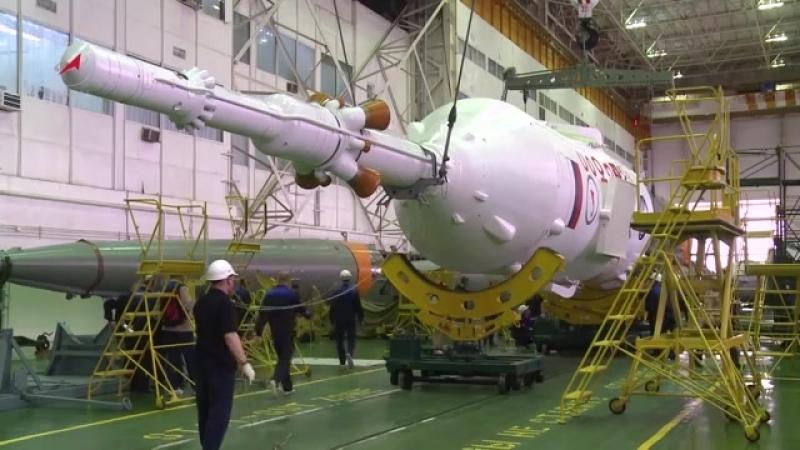 Общая сборка РКН «Союз-ФГ» с ТПК «Союз МС-08» Роскосмос