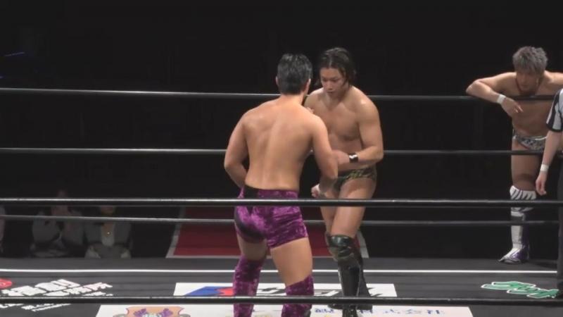 Daiki Shimomura, Nobuhiro Shimatani, Kota Umeda vs. Minoru Tanaka, Mizuki Watase, Tomoya Hirata (DDT - DNA 43 ~ DNA Super Tag)