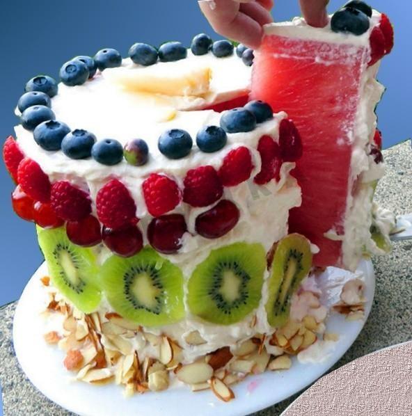 арбузный торт с фруктами я без ума от этого десерта, правда-правда! и вам он тоже обязательно понравится! его изюминка в том, что украшать арбузный торт можно так, как захочется, любыми фруктами и ягодами по вкусу, подойдет и клубника, и яблоки, и
