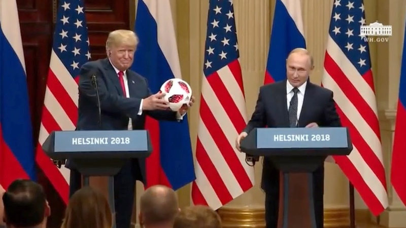 Trump Throws Melania A Soccer Ball He Got From Putin