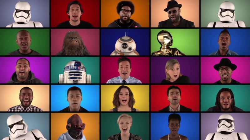 Jimmy Fallon The Roots 'Star Wars The Force Awakens' Cast Sing 'Star Wars' Medley A Cappella 1 mp4