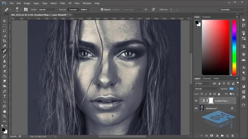 Photoshop (Фотошоп). Красим кожу в серебряный цвет. (Марина Эл)