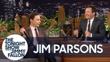 Jimmy Surprises Jim Parsons with a Skittles-Filled Cane for His Broken Foot