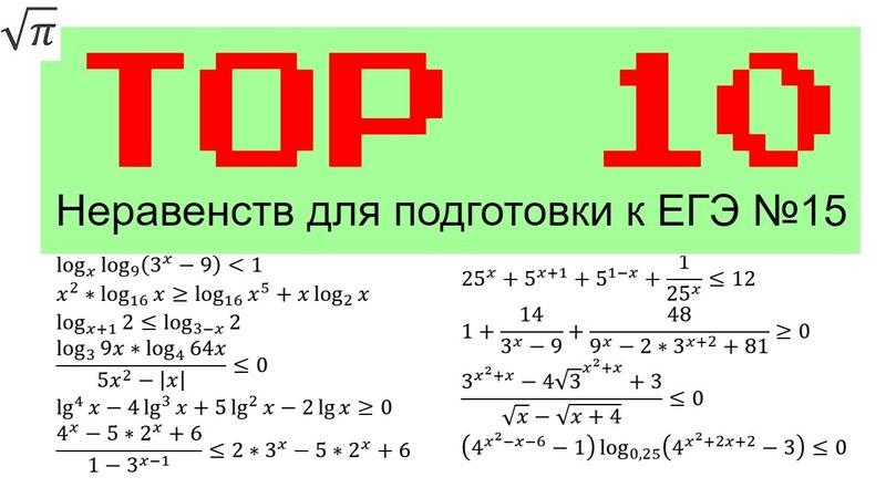 Топ 10 Неравенств для подготовки к ЕГЭ (15)
