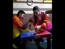 Mixed arm wrestling - she is a champ, dude has no chance