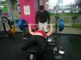 Впервые пожал 160 кг. Тяжело далось. Фитнес клуб «LES Fitness». 6 апреля 2018 г. Москва