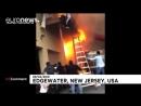 Люди прыгали с балкона спасаясь от пожара в Нью Джерси США