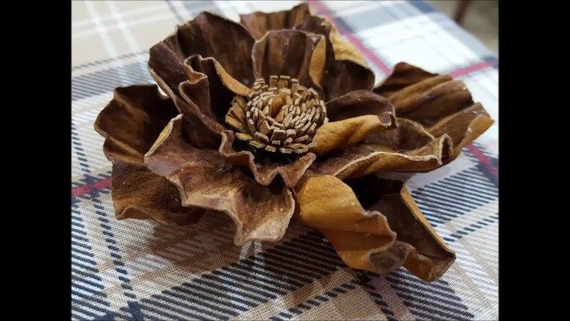 Кожаный цветок из старых перчаток