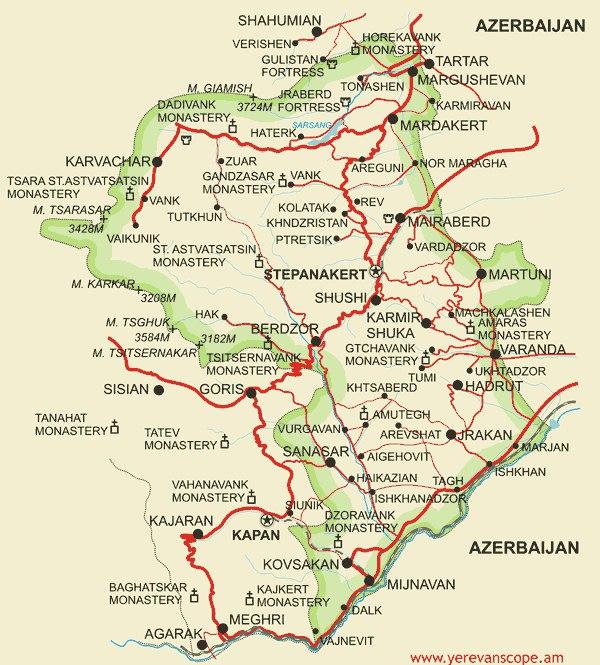 Карта Нагорного Карабаха с дорогами