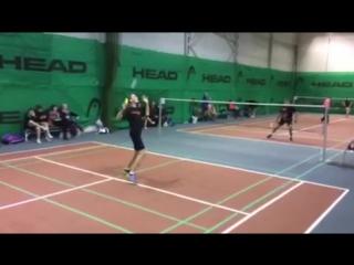 Финал турнира по Бадминтону 1 часть Акулов-Чумаков