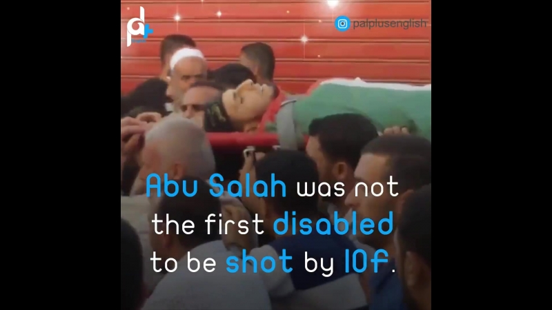 Israeli snipers shot the disabled man Fadi during his participation along Gaza border with Israel.