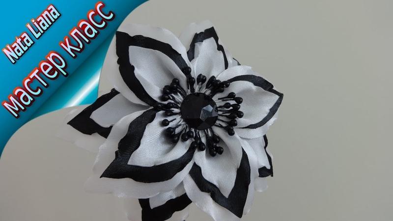 Ободок в школу на 1 сентября. Цветок из атласной ленты. DIY