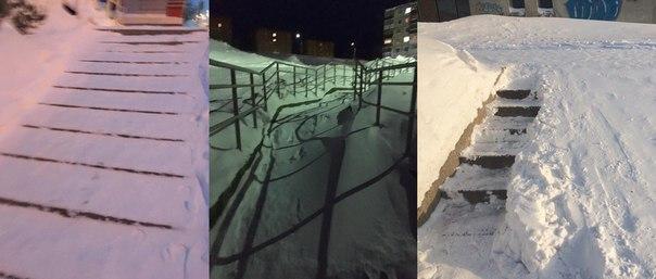 Усть-Илимск.  Не очищенные от снега улицы