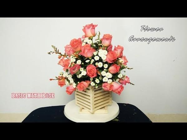 DẠY CẮM HOA HỒNG CƠ BẢN DẠNG TRÒN CHÚC MỪNG | Hướng dẫn cắm hoa