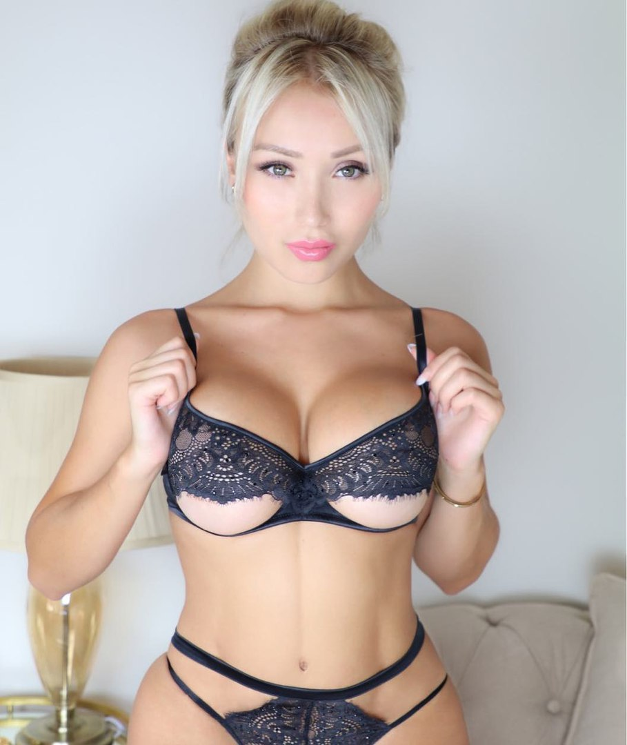 Large tits blonde teasing herself on ottoman