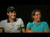 Roger Federer and Rafael Nadal laughing - Funny charity match outtakes