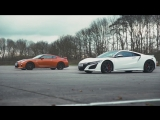 Honda (Acura) NSX vs Nissan GT-R DRAG ROLLING RACE BRAKE TEST