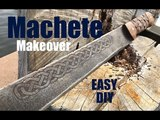 DIY easy Machete Makeover with Celtic blade etching and carved basket weave handles