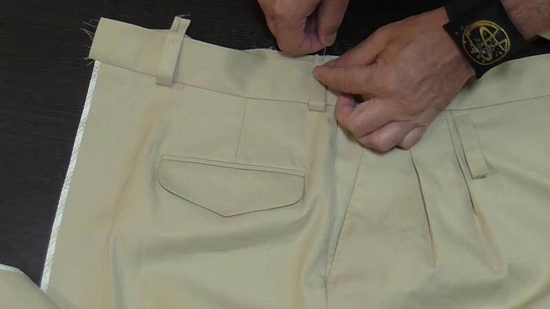 мужские брюки, шлёвки заработанные между поясом и корсажем.