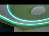 Двухуровневый натяжной потолок с многоцветной светодиодной подсветкой