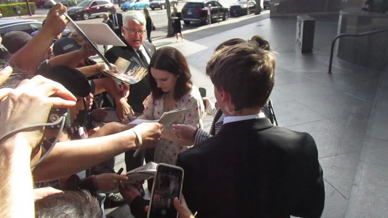 The Marvelous Mrs. Maisel actress Rachel Brosnahan signing autographs outside of DGA Theater
