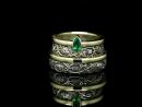 Обручальные кольца Гармония Природы». Серебро, золото, изумруд, бриллианты