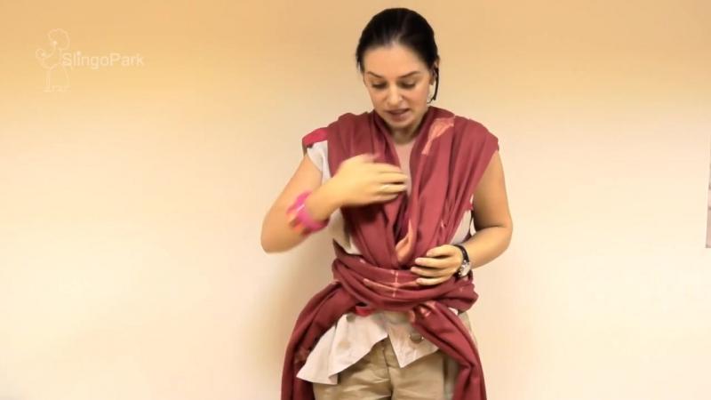 Слинг-шарф, намотка Крест под карманом - инструкция