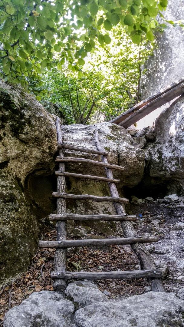Так выглядела лестница в 2016 году. Тропа. Эски-Кермен
